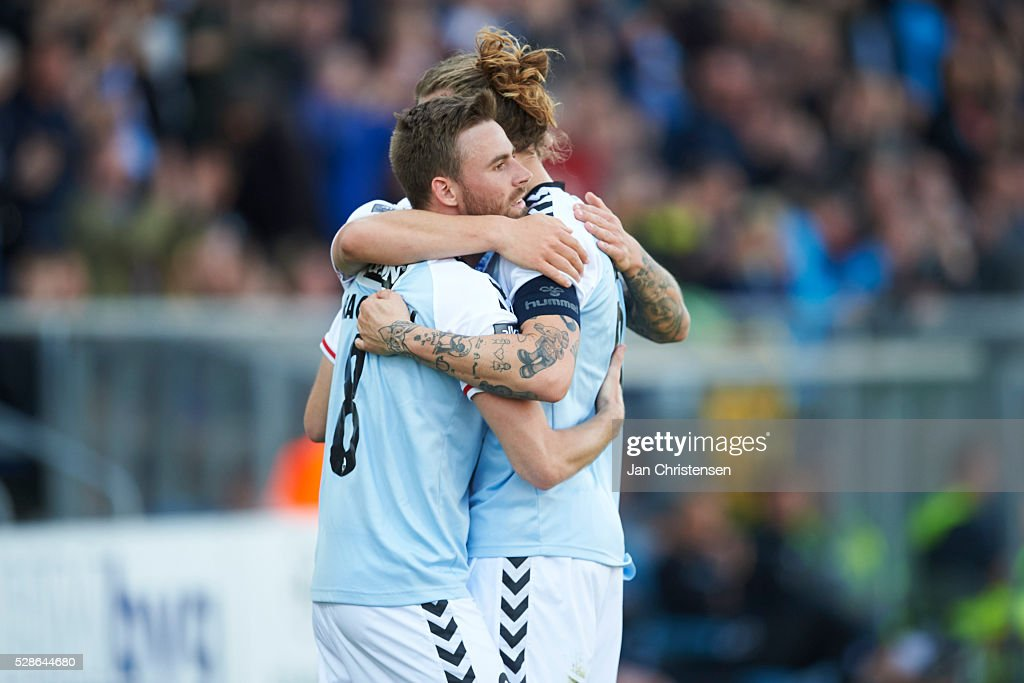 Janus Drachmann of SonderjyskE and Pierre Kanstrup of SonderjyskE celebrate after the 1-0 goal from Marc Dal Hende during the Danish Alka Superliga match between SonderjyskE and Esbjerg fB at Sydbank Park on May 06, 2016 in Haderslev, Denmark.