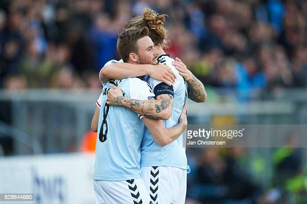 Janus Drachmann of SonderjyskE and Pierre Kanstrup of SonderjyskE celebrate after the 10 goal from Marc Dal Hende during the Danish Alka Superliga...