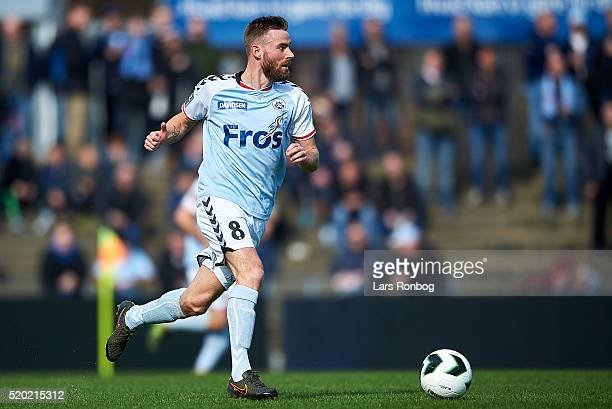 Janus Drachmann of Sonderjyske controls the ball during the Danish Alka Superliga match between Sonderjyske and AGF Aarhus at Sydbank Park on April 9...
