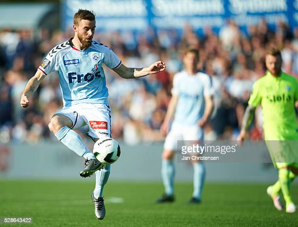Janus Drachmann of SonderjyskE controls the ball during the Danish Alka Superliga match between SonderjyskE and Esbjerg fB at Sydbank Park on May 06...