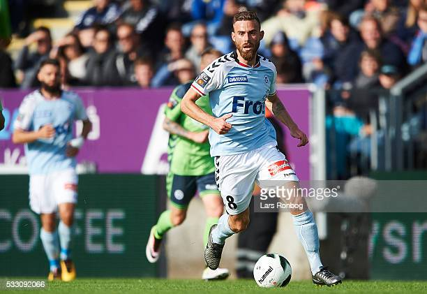Janus Drachmann of Sonderjyske controls the ball during the Danish Alka Superliga match between Sonderjyske and OB Odense at Sydbank Park on May 20...