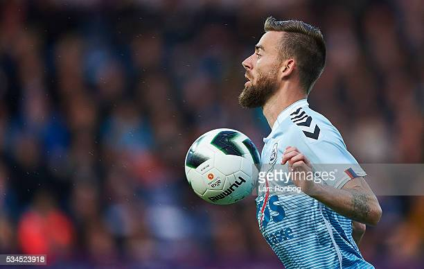 Janus Drachmann of Sonderjyske controls the ball during the Danish Alka Superliga match between Sonderjyske and Randers FC at Sydbank Park on May 26...