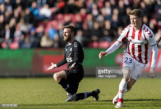 Janus Drachmann of SonderjyskE in action during the Danish Alka Superliga match between AaB Aalborg and Sonderjyske at Nordjyske Arena on April 17...