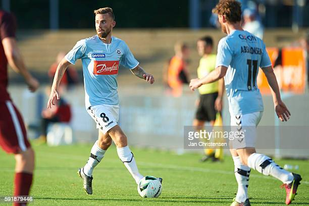 Janus Drachmann of SonderjyskE in action during the UEFA Europa League Playoff match between SonderjyskE and AC Sparta Praha at Sydbank Park on...