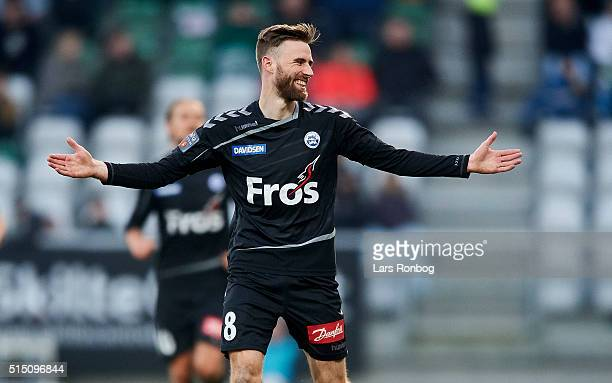 Janus Drachmann of Sonderjyske looks happy during the Danish Alka Superliga match between Viborg FF and Sonderjyske at Energi Viborg Arena on March...