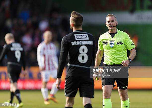 Janus Drachmann of SonderjyskE talking t0 Referee Jacob Kehlet during the Danish Alka Superliga match between AaB Aalborg and Sonderjyske at...