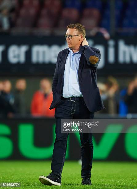 Janus Kyhl director of FC Helsingor on the pitch after the Danish Alka Superliga match between FC Helsingor and OB Odense at Helsingor Stadion on...