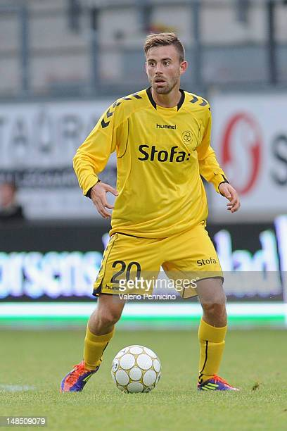 Janus Mats Drachmann of AC Horsens in action during the Superliga match between AC Horsens and FC Nordsjaelland at Casa Arena on July 16 2012 in...