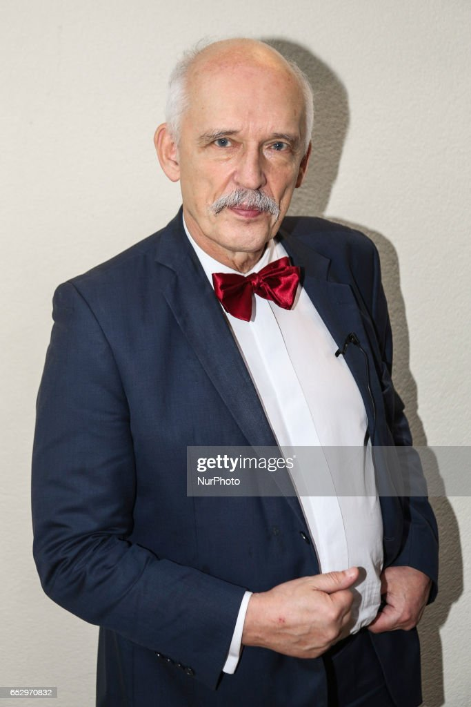 Janusz Korwin-Mikke, a Polish politician, leader of KORWiN party and European Union MP met with his supporters in Bedzin, Poland, on March 12, 2017. Janusz Korwin-Mikke has taken criticism this week for comments he made in the European Parliament that said women are inferior to men.