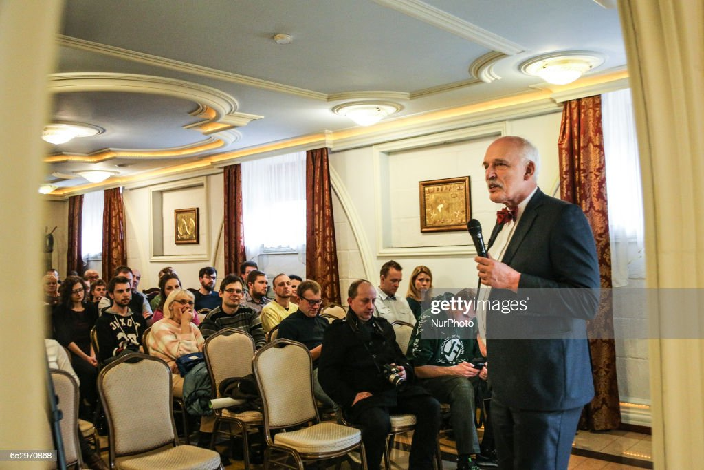 Polish MP Janusz Korwin-Mikke meeting in Bedzin, Poland