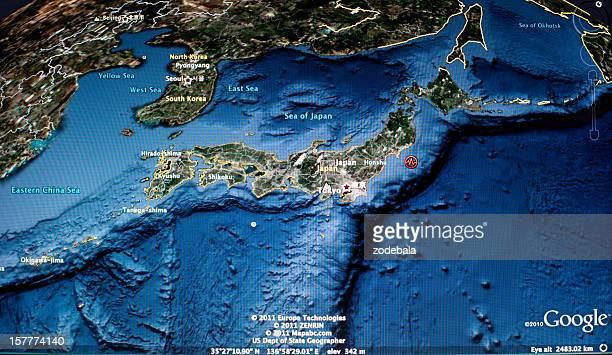 日本の地震 2011 、Google マップの衛星