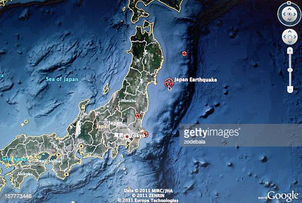 Japan 2011 Earthquake Satellite Map
