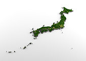 3D rendering of extruded high-resolution physical map (with relief) of Japan, isolated on white background. Modeled and rendered with Houdini 16.5 Satellite image from NASA: https://visibleearth.nasa.