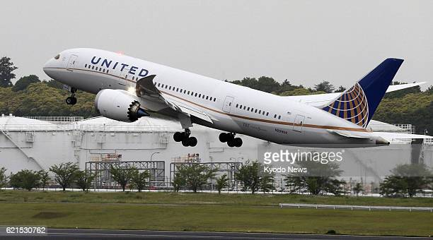 NARITA Japan A Boeing 787 Dreamliner operated by United Airlines takes off from Narita airport near Tokyo for Denver on June 11 2013 The US airline...