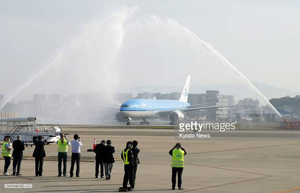 FUKUOKA Japan A KLM Boeing 777 jet carrying about 300 passengers lands at Fukuoka airport at around 8 am on April 4 with fire trucks on a taxiway...