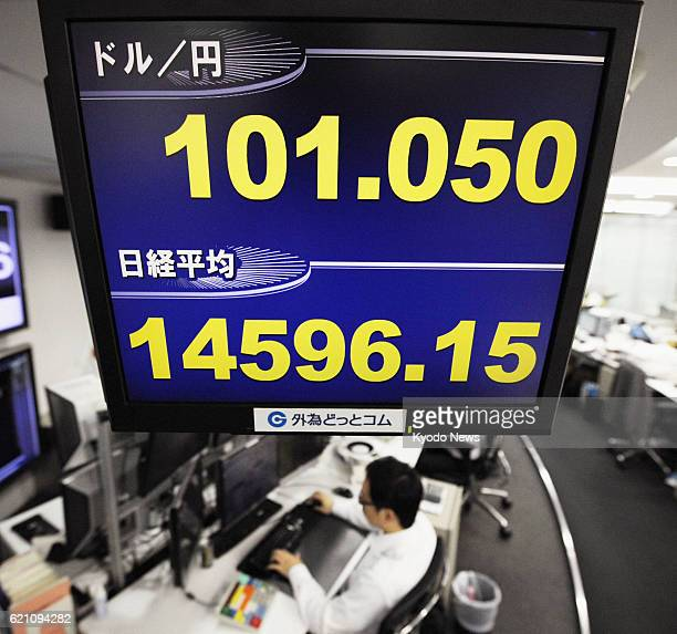 TOKYO Japan A signboard at a Tokyo office of money broker Gaitamecom Co shows the US dollar trading above the 101 yen line and the Nikkei stock index...