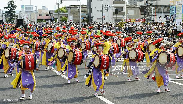 YAMAGATA Japan A team of 'taiko' drummers dancers and pipers perform the Iwate Prefectureoriginated 'Morioka Sansa Odori' dance in Yamagata Yamagata...