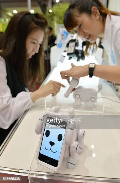 TOKYO Japan A woman demonstrates Bandai Co's 'smartpet' robot dog which has a dock into which users insert a smartphone which becomes the dog's head...