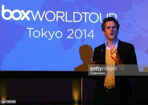 TOKYO Japan Aaron Levie cofounder and chief executive officer of US cloud storage company Box Inc announces in Tokyo on May 20 that his company has...