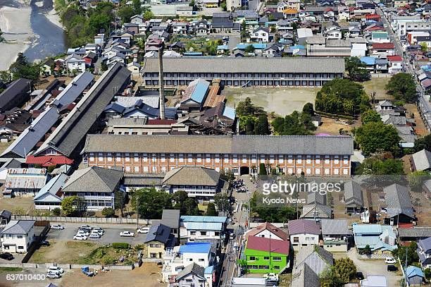 TOMIOKA Japan Aerial photo taken on April 26 shows the Tomioka Silk Mill in the city of Tomioka Gunma Prefecture Japan's Agency for Cultural Affairs...