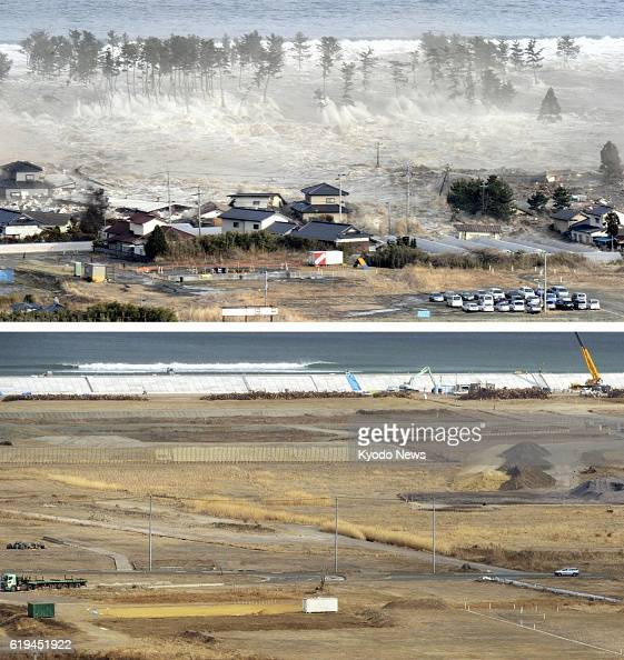 NATORI Japan Aerial photos taken by Kyodo News show a coastal area in the city of Natori Miyagi Prefecture on March 11 as the area is hit by massive...