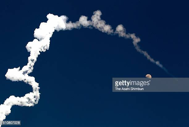 Japan Aerospace Exploration Agency HIIA 30 leaves a contrail after the launch from the JAXA's Tanegashima Space Center on February 17 2016 in...