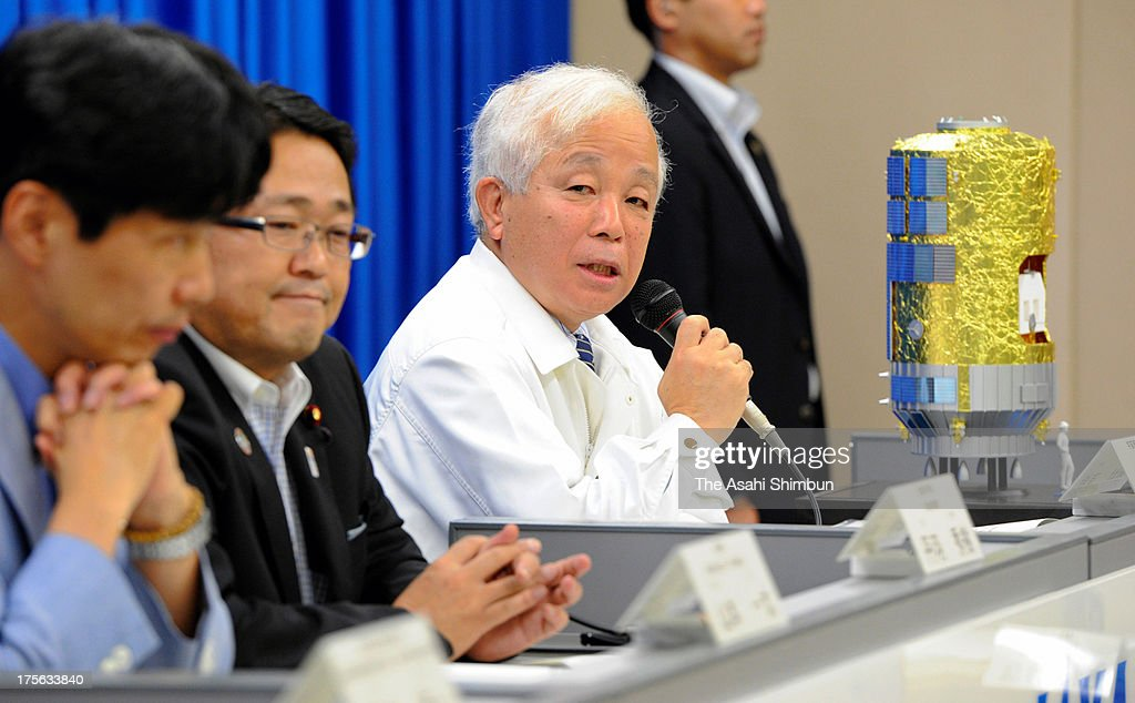 Japan Aerospace Exploration Agency (JAXA) President Naoki Okumura speaks during a press conference after the H-IIB rocket launch at JAXA's Tanegashima Space Center on August 4, 2013 in Minamitane, Kagoshima, Japan. The launch vehicle carries a cargo transpoter to the International Space Station 'Konotori (HTV4)' along with a Humanoid robot Kirobo, which will be a companion for Japanese astronauts Koichi Wakata at the ISS.