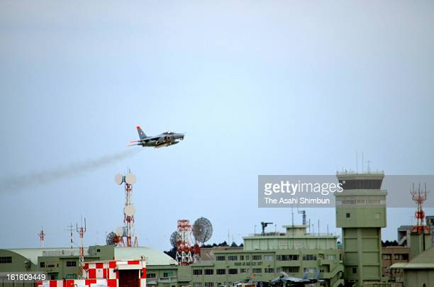 A Japan Air SelfDefense Force T4 training aircraft takes off from the JASDF Hyakuri Air Base to collect radioactive substance possibly spread in the...