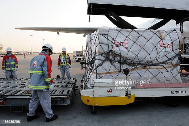 Japan Airlines Co's employees unload a cargo containing boxes of Beaujolais Nouveau wine from the storage space of an aircraft at Haneda Airport in...