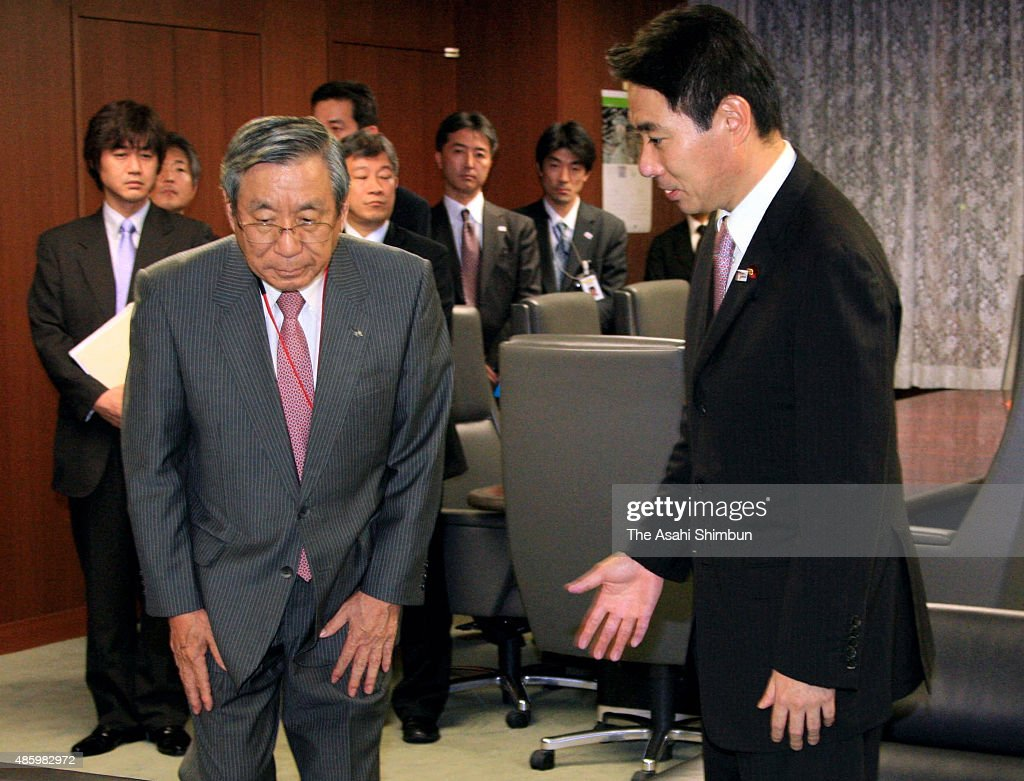 Japan Airlines President Haruka Nishimatsu and Transport Minister Seiji Maehara hold a meeting at the transport ministry on November 11 2009 in Tokyo...