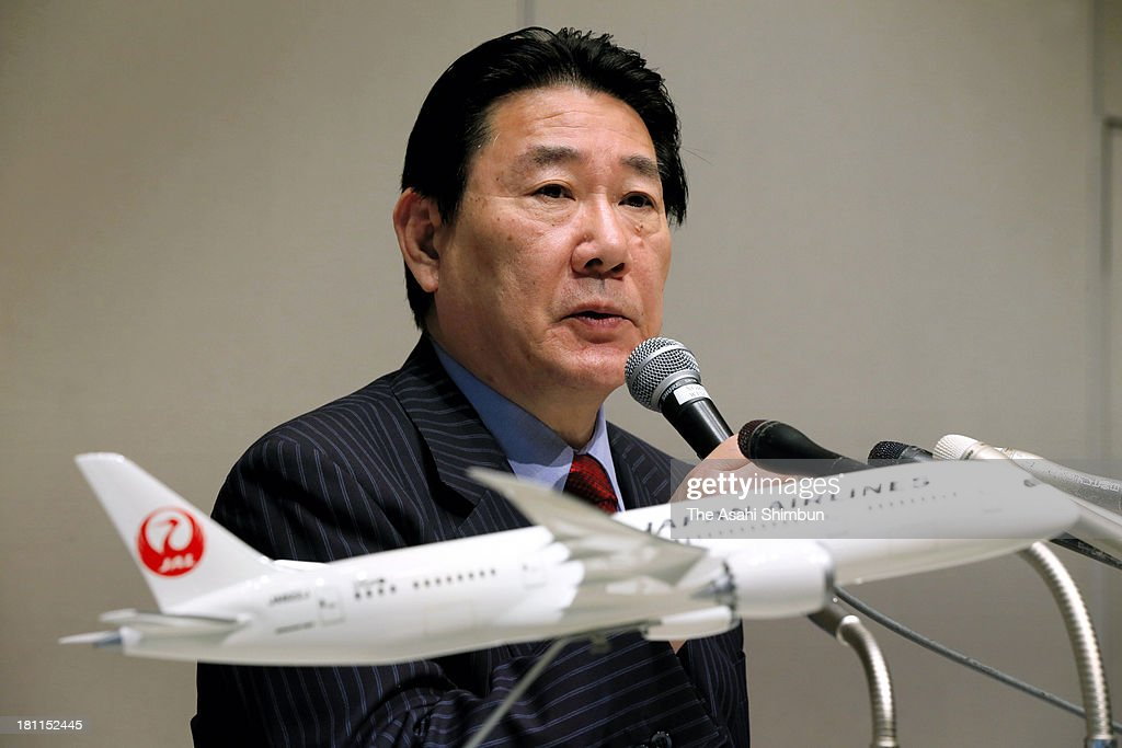 Japan Airlines president Yoshiharu Ueki speaks during a press conference on September 18, 2013 in Tokyo, Japan. JAL is to mark first anniversary of initial public offering.