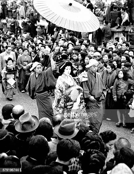 TOKYO Japan An ''oiran'' parade is held April 9 1950 for the first time in 37 years in Yoshiwara then Japan's largest licensed redlight district...