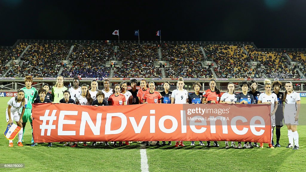Japan and France players pictured to promote FIFA's 'ENDviolence' campaign during the FIFA U-20 Women's World Cup Papua New Guinea 2016 Semi Final match between Japan and France at Sir John Guise Stadium on November 29, 2016 in Port Moresby, Papua New Guinea.