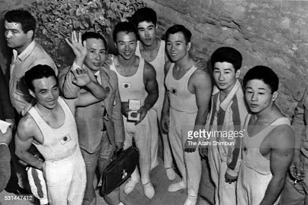 Japan Artistic Gymnastic Men's team Nobuyuki Aihara head coach Takashi Kondo Masao Takemoto Yukio Endo Takashi Ono Shuji Tsurumi and Takashi...