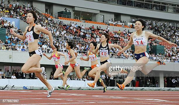 KUMAGAYA Japan Asian champion Chisato Fukushima finishes first in the women's 100meter final at the national championships in Kumagaya Saitama...