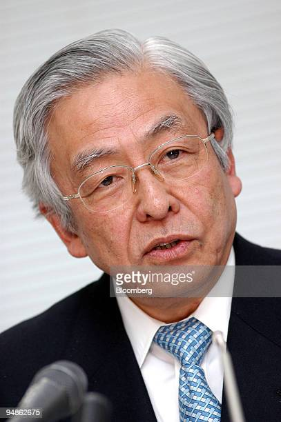 Japan Automobile Manufacturers Association Chairman Nissan Diesel Motor Co CEO Itaru Koeda speaks to reporters at a press briefing in Tokyo on...