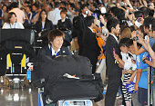 NARITA Japan Ayumi Kaihori a goalkeeper for Japan's women's national soccer team takes in a heroes' welcome from fans at Narita International Airport...