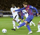 YOKOHAMA Japan Barcelona's Maxwell scores the fourth goal during the second half of a Club World Cup semifinal match against Al Sadd at Nissan...