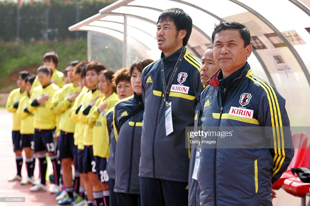 Japan bench during anthem headed by Norio Sasaki, Head Coach of Japan stands before the Algarve Cup match between Japan and Norway at the Complexo Desportivo Belavista on March 6, 2013 in Parchal, Portugal.