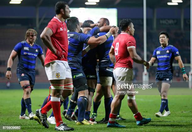 Japan celebrate a try during the international match between Japan and Tonga at Stade Ernest Wallon on November 18 2017 in Toulouse Kanagawa France