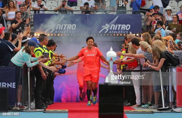 Japan celebrate with supporters in the crowd as they run onto the track during the Melbourne Nitro Athletics Series at Lakeside Stadium on February...