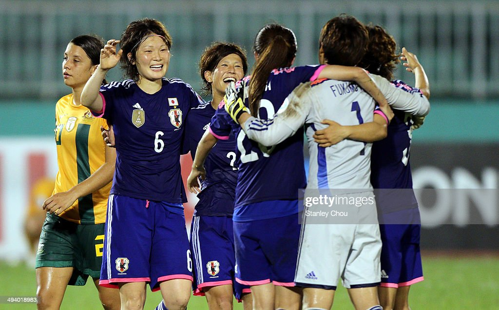 Japan celebrates after they defeated Australia 1-0 during the AFC Women's Asian Cup Final match between Japan and Australia at Thong Nhat Stadium on May 25, 2014 in Ho Chi Minh City, Vietnam.