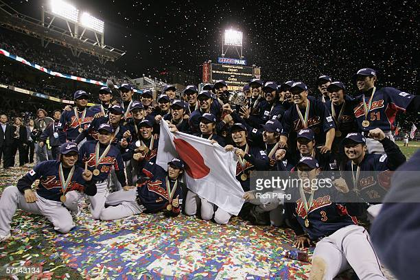 Japan celebrates winning the World Baseball Classic Championship Game against Cuba at PETCO Park on March 20 2005 in San Diego California Japan...