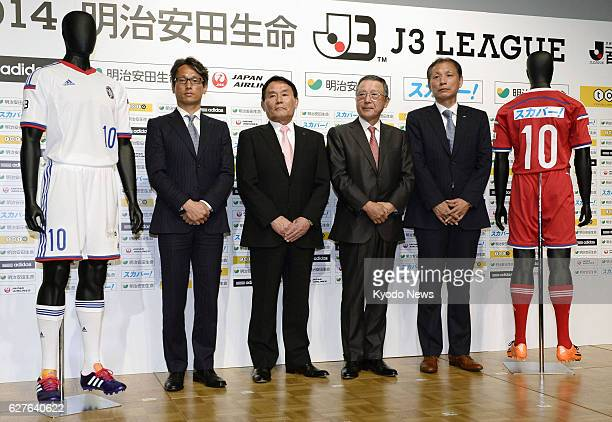 TOKYO Japan Chairman Kazumi Ohigashi and other senior officials of the Japan Professional Football League announce opening games of the newly created...
