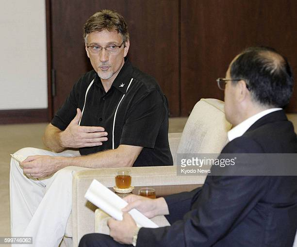 HIROSHIMA Japan Clifton Truman Daniel the eldest grandson of former US President Harry Truman holds talks with Kazumi Matsui mayor of Hiroshima...