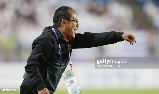 Japan coach Atsushi Uchiyama during the FIFA U20 World Cup Korea Republic 2017 group D match between Uruguay and Japan at Suwon World Cup Stadium on...