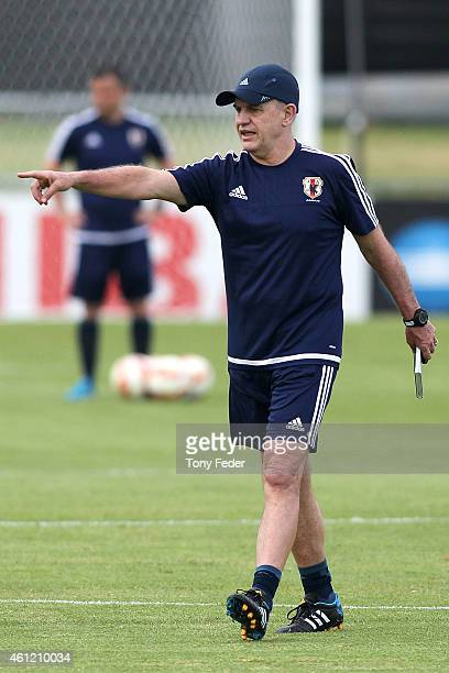 Japan coach Javier Aguirre during a Japan 2015 Asian Cup training session on January 9 2015 in Newcastle Australia