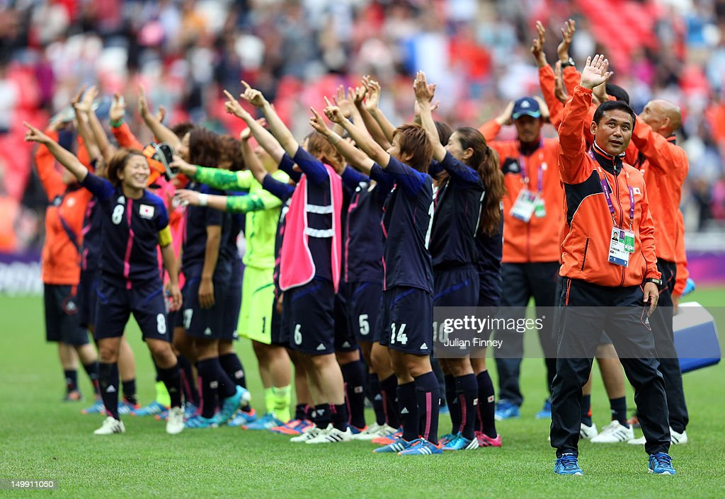 Japan coach, Norio Sasaki and team thank the support during the Women's Football Semi Final match between France and Japan on Day 10 of the London 2012 Olympic Games at Wembley Stadium on August 6, 2012 in London, England.