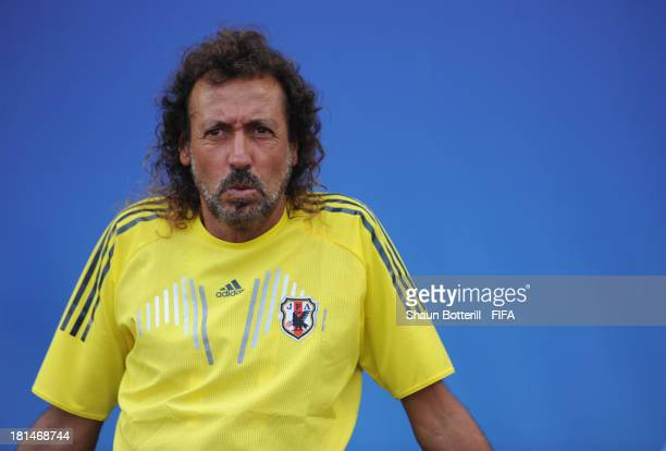 Japan coach Ruy Ramos during the FIFA Beach Soccer World Cup Tahiti 2013 Group D match between Japan and Paraguay at the Tahua To'ata stadium on...