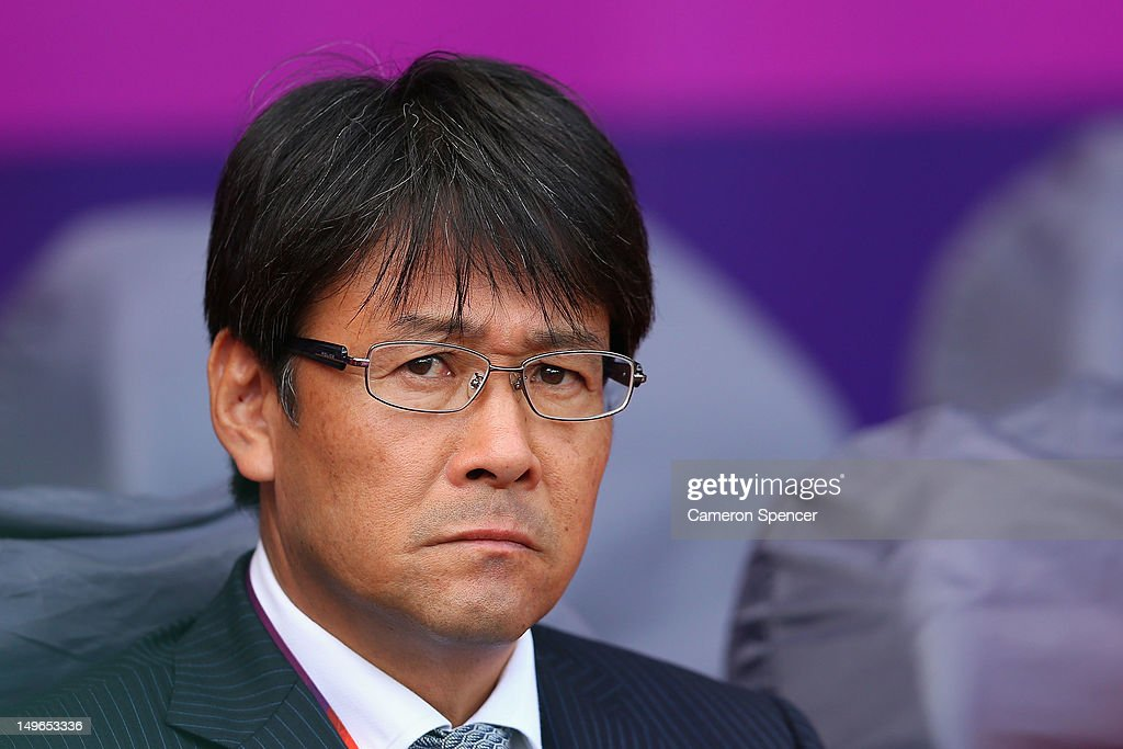 Japan coach Takashi Sekizuka looks on during the Men's Football first round Group D Match between Japan and Honduras, on Day 5 of the London 2012 Olympic Games at City of Coventry Stadium on August 1, 2012 in Coventry, England.